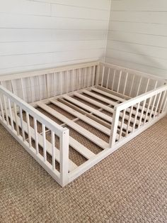 Montessori floor bed with rails full or double size floor bed hardwood made in USA INCLUDES SLATS Christmas sale - bett. Diy Toddler Bed, Toddler Rooms, Toddler Bed On Floor, Floor Beds For Toddlers, Full Size Toddler Bed, Toddler Beds For Boys, Kid Floor Bed, Toddler Boy Room Ideas, Kids Beds Diy
