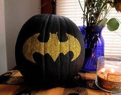 12. Black Golden Batman Pumpkin