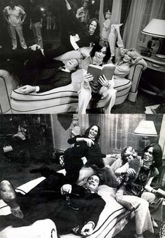 David Doyle, Jaclyn Smith, Kate Jackson and Farrah Fawcett on the set of Charlie's Angels