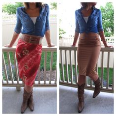 Pair this skirt with cowboy boots, a chambray top and you're ready to go! Reversible skirt goes from lace floral overlay to solid brown. The most comfortable skirt you'll ever own.