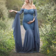 ea3c201c532cb Maternity Solid Color Off Shoulder Long Sleeve Photo Props Gown