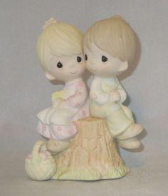 Love One Another Precious Moments Figurine Boy Girl Stump Heart Basket NWOB  #PreciousMoments