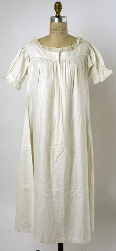 Chemise  Date: ca. 1830 Culture: American Medium: linen