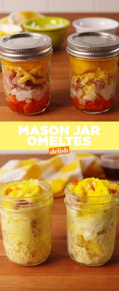 Mason Jar Omelets Are The Fastest Breakfast EVERDelishYou can find Mason jar meals and more on our website.Mason Jar Omelets Are The Fastest Breakfast EVERDelish Mason Jar Meals, Meals In A Jar, Mason Jar Crafts, Mason Jar Diy, Mason Jar Food, Mason Jar Recipes, Mason Jar Lunch, Mason Jar Drinks, Salad In Mason Jar