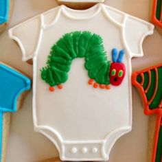 """The Very Hungry Caterpillar"" Baby Shower Cookie close up. #cookiecouture #theveryhungrycaterpillarcookies"
