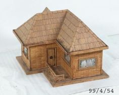 Doll house and accessories, wood/ matchsticks/ plastic/ metal/ nylon, homemade, Australia, 1950-1970