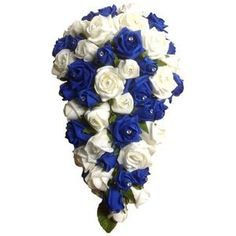royal blue wedding bouquet | ROYAL BLUE AND IVORY FOAM ROSE BRIDAL BOUQUET/SHOWER.CASCADE | eBay