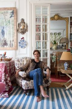 Remember textile designer Carolina Irving's stunning Parisian home? Well, it's been shot again, this time by the French publication Série Limitée. The fantastic photos by Jean -François Jaussaud reveal Carolina relaxing in her fabulous leopard Irving French Apartment, Design Apartment, Parisian Apartment, Paris Apartments, Paris Apartment Interiors, Parisian Decor, Interior Design Living Room, Living Room Designs, Living Room Decor