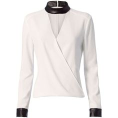 Intermix Women's Strom Leather-Like Detail Blouse ($285) ❤ liked on Polyvore featuring tops, blouses, shirts, ivory, cut out shirts, ivory shirt, leather blouse, pink shirts and cut out blouse