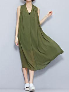 Chiffon Print Loose Sleeveless V-neck Dress For Women