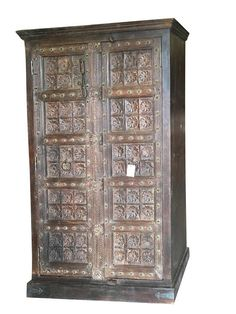 Farmhouse Chic Antique Wardrobe Armoire Lotus Floral Carved Doors Indian Furniture