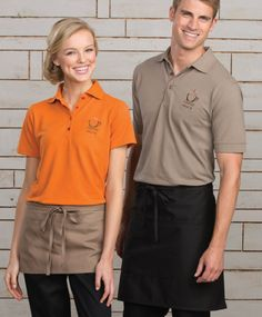 This soft touch blended pique polo shirt will add class to any uniform yet comfortable. Add your logo for a truly professional look, and 18 available colors. Cafe Uniform, Waiter Uniform, Hotel Uniform, Waitress Outfit, Japanese Uniform, Polo Shirt Design, Restaurant Uniforms, Casual Restaurants, Pique Polo Shirt