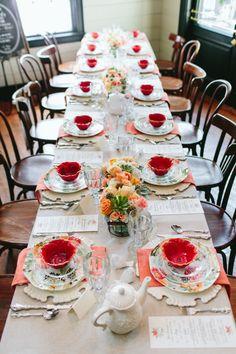 bridal shower luncheon #bridalshower http://www.weddingchicks.com/2013/11/21/peach-and-mint-bridesmaid-luncheon/
