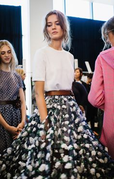 #Modest doesn't mean frumpy. #DressingWithDignity www.ColleenHammond.com  Michael Kors S/S 2015 backstage