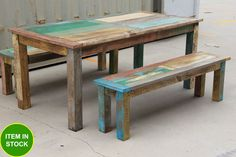 French reclaimed old timber shabby chic Bench Seat Setting Dining table set 1.8m