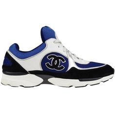 Pre-owned Chanel Black/blue Suede And Fabric Cc Sneakers Black/... ($950) ❤ liked on Polyvore featuring shoes, sneakers, blue suede shoes, black trainers, white sneakers, blue shoes and blue sneakers