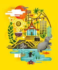 Cover Art for Monocle's 2012 Thailand travel insert by Matt Lehman Studio Illustration Design Graphique, Travel Illustration, Graphic Illustration, Business Illustration, Rollo Design, City Poster, Art Thai, Affinity Designer, Illustrations And Posters