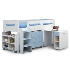 buy happy beds kimbo white wooden kids mid sleeper sleep station desk cabin storage bed frame single from our mid u0026 high sleepers range at tesco direct