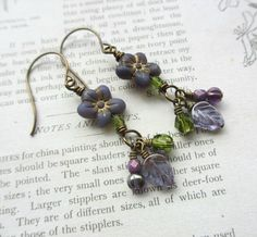 Purple Flower Earrings Czech Glass