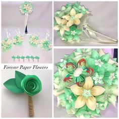 Our latest bridal order! Ariel bouquet, buttoniers and centrepieces. Send us a message to order your bespoke bouquets now! #wedding #bride #disney #disneybride #littlemermaid #ariel #pastel #green #ivory #bouquet #bridal #flowers #paper #paperflowers #handmade #manchester #buttonhole #bridesmaid #foreverpaperflowers