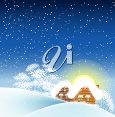 Vector illustration of Winter landscape with houses