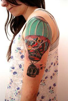 bdd36e96f hot air balloon by Lucas Cordeiro Cage Tattoos, Body Tattoos, Tatoos, Air  Balloon