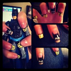 "Batman Nails!  One of my best friends created this unique ""geek chic"" look"