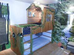 Ikea Kura bed transformed into a treehouse bed