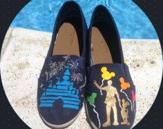 Hand painted disney shoes ft. Walt and Mickey statue with black light reactive balloons and sleeping beauty castle