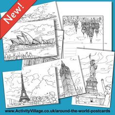 Perfect for Thinking Day, postcards from around the world to color and learn from! Around The World Theme, Around The World In 80 Days, Travel Around The World, Around The Worlds, Daisy Girl Scouts, Girl Scout Troop, Montessori, Girl Scout Activities, Art Activities
