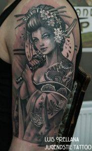 geisha_tattoo_black_and_grey_by_mojoncio-d8mfc5y