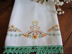 Vintage southern belle embroidered hand towel.