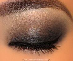 Smokey black & glitter eye