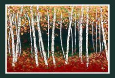"""Contemporary Abstract Landscape Art, Birch Trees, Aspen Trees, Tree Painting Textured Modern  Painting, Ready to Hang 36"""" x 24"""". $375.00, via Etsy."""