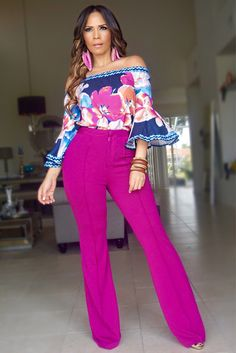 ISABELLA HIGH WAIST CREPE TROUSERS - MAGENTA