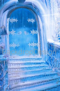 Frozen Door Backdrop blue ice door winter by BestBackdropCenter Fabric  Photography 99f7467fc91d