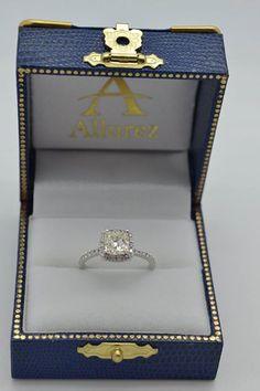 Cushion Diamond Halo Engagement Ring French Pave 14k W. Gold 1.58ct - Allurez.com
