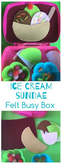 Make this felt ice cream sundae busy box for hours of fun during traveling or…