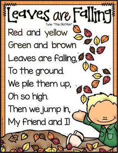 Fall theme activities for preschool, pre-k and kindergarten Fall: Preschool, Pre-K and Kindergarten Resources Kindergarten Poems, Preschool Poems, Fall Preschool Activities, Kids Poems, Preschool Classroom, Preschool Fall Theme, Dinosaurs Preschool, Therapy Activities, Circle Time Songs