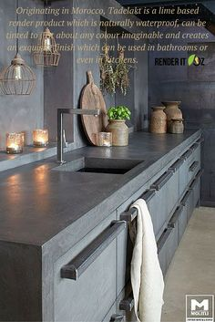 Tadelakt can also be used beautifully in a #kitchen setting and matched to look…