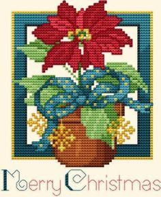 Poinsettia cross stitch.