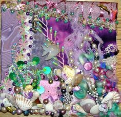 Crazy Quilting and Embroidery Blog by Pamela Kellogg of Kitty and Me Designs: Purple Crazy Quilt Seascape