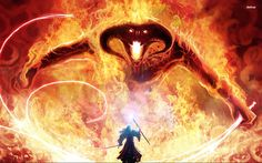 Gandalg and Balrog - Lord Of The Rings wallpaper