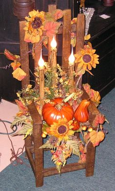 primitive fall crafts, This is my favorit time of year! I love all the primitive colors of fall, This is a cute little chair I did up for fall, It has 3 candle lights, and would look great on a front porch!, Holiday Project