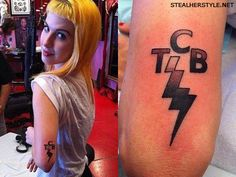 Hayley Williams' TCB lightning bolt Elvis tattoo... I didn't know she was an Elvis fan. I love her even more now.