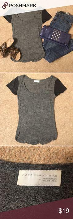 Zara faux leather sleeve tee Worn twice. Perfect condition. Zara Tops Tees - Short Sleeve