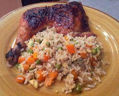 Chicken Teriyaki using leg quarters & easy Chinese Fried Rice