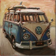 Interior Paintings at - Interior Paintings at Bradford J Salamon Combi Wv, Car Painting, Beach Art, Rock Art, Art Cars, Painting Inspiration, Artsy, Sketches, Fine Art