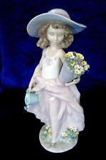 LLADRO #7676 A WISH COME TRUE BRAND NIB LADY FLOWER LARGE RARE $300 OFF FREE SH