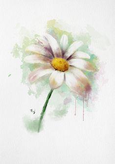 Daisy watercolor print watercolor daisy by drawingillustration Watercolor Daisy Tattoo, Art Watercolor, Watercolor Flowers, Daisy Painting, Daisy Drawing, Flower Wall Decor, Expo, Flower Art, Flower Prints